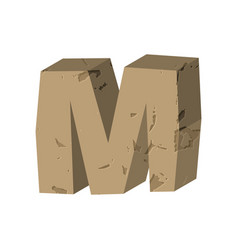 Letter m stone font rock alphabet symbol stones vector