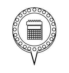 Monochrome silhouette of calendar and circular vector