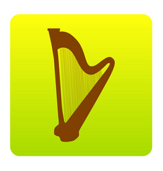 musical instrument harp sign brown icon vector image