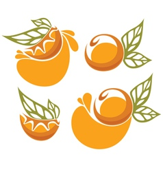 orange juice and fruit sticker vector image vector image