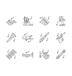 Orchestra melodies flat line icons set vector