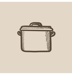 Saucepan sketch icon vector