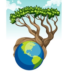Save the world theme with earth and tree vector image vector image