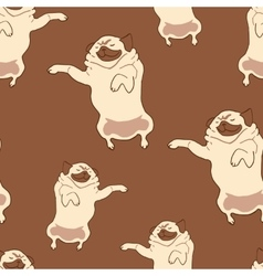 Seamless pattern with hand drawn pug dogs vector image vector image