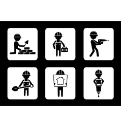 Set construction icons with builders vector