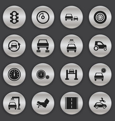 set of 16 editable traffic icons includes symbols vector image vector image