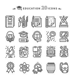 Set of Black Education Icons on White Background vector image