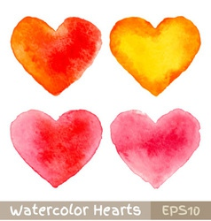 Set of colorful watercolor hearts vector