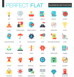 set of flat business motivation icons vector image vector image