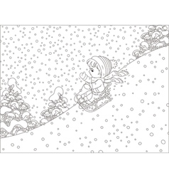 Small child sleighing vector image vector image