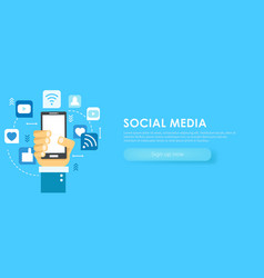 social media banner phone with icons vector image vector image