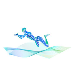 swimmer breaststroke color silhouette vector image vector image