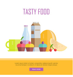 tasty food concept web banner vector image vector image