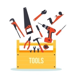 Tools box with instruments vector image
