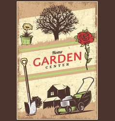 Vintage colored gardening poster vector
