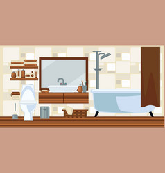 Washroom interior design in brown colors flat vector