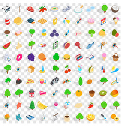100 health icons set isometric 3d style vector image vector image
