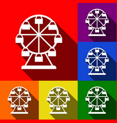 Ferris wheel sign  set of icons with flat vector