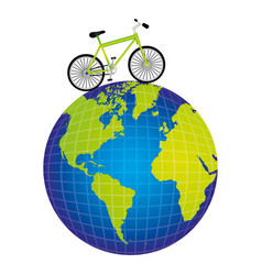 colorful silhouette of bicycle over the world map vector image