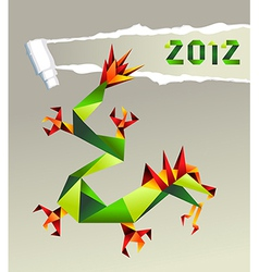 2012 Chinese origami dragon vector image