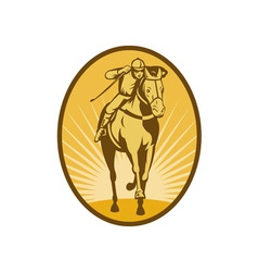 Horse and jockey racing front view vector