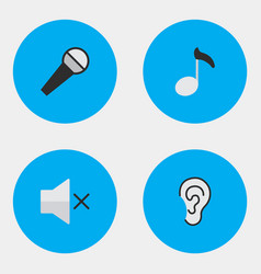 Set of simple icons elements mike note listen and vector