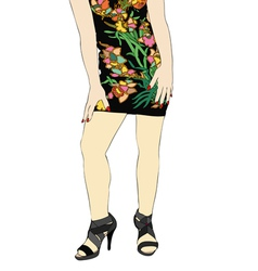 Dress of flowers vector
