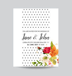 card with watercolor lily flowers for wedding vector image