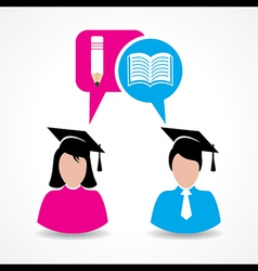 Male and female students thinking about education vector