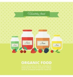 Jam and juice card in flat style vector