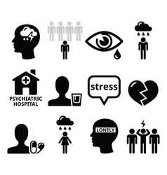 Mental health icons - depression addiction vector image