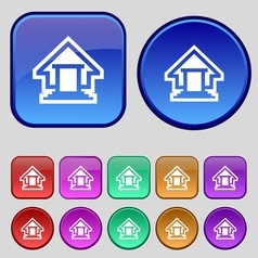 House icon sign a set of twelve vintage buttons vector
