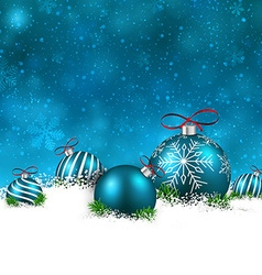 Blue winter background with christmas balls vector