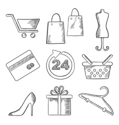 Retail business and shopping sketched icons vector