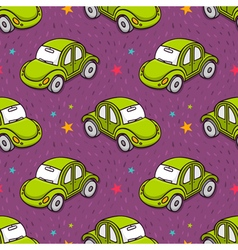Seamless pattern with cute green toy beetle car vector