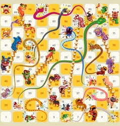 Snake and ladder boardgame chinese new year vector