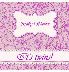 Baby-shower-with-flowers-twins vector image