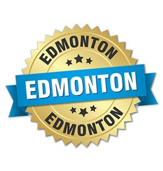 Edmonton round golden badge with blue ribbon vector