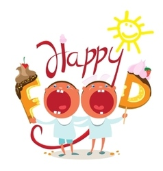 Funny kids want tasty food vector