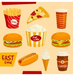 Fastfood icons set snacks and beverages elements vector