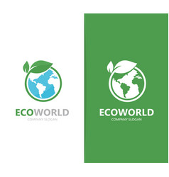 A earth and leaf logo combination vector