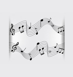 Background design with music notes on scales vector