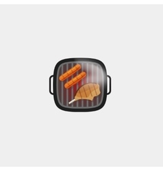 Barbecue grill sausage and steak meat icon vector image
