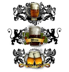 beer mugs decorative vector image vector image