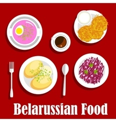 Belarusian vegetarian national dishes flat icon vector