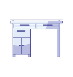 Blue shading silhouette of wooden home desk with vector