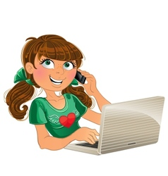 Brown-haired girl with phone and red laptop vector
