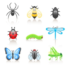 cartoon insect icon set vector image vector image