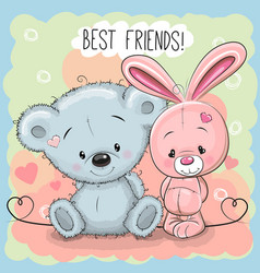 Cute bear and rabbit vector