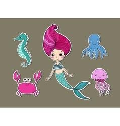 Cute cartoon mermaid funny crab jellyfish vector